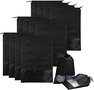 12 Pcs Travel Shoe Bags, DELFINO Large Non-woven Organizer Space Saving Storage Bags with Drawstring and Transparent PVC W...