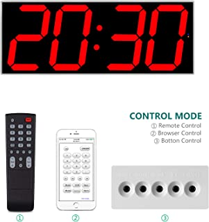 West Ocean Digital Smart Large LED Wall Clock Jumbo Display with Remote Control/WiFi Control via Internet and Countdown Timer Multifunction
