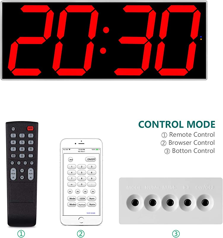 West Ocean 6 Digital Smart Large LED Wall Clock Jumbo Display With Remote Control WiFi Control Via Internet And Countdown Timer Multifunction