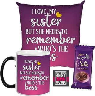 YaYa Cafe Funny Birthday Bhaidooj Gift Combo for Sister I Love My Sister But She Needs To Remember Who's The Boss Mug, Cus...
