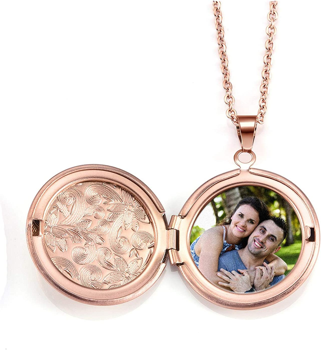 BOPREINA Personalized Photo Image Locket Pendant Round Locket Necklace That Holds Picture Custom Mothers Neclace with Any Memory Photo Locket Necklace Gifts for Mom