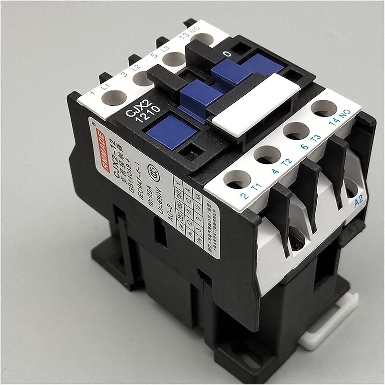 JSJJAQW Relé Relé del contactor magnético del Motor 3 Fase 1 2A 3P 3 Polo 1NO AC 24V 110V 220 Voltios 380v Bobina CJX2-1210 3 Montaje de riel DIN de 5 mm (Color : 110VAC)