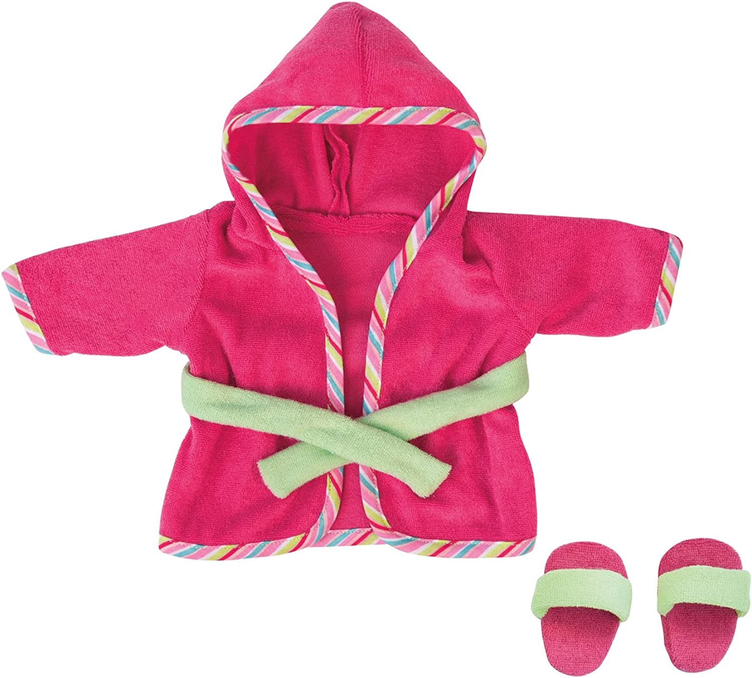 Bayer 30cm Deluxe Dress Set Bathrobe Design with Slippers (Pink Green)