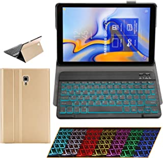 Samsung Galaxy Tab A 10.5 Keyboard Case - 2018 Model SM-T590/T595/T597 - Slim PU Leather - Removable BT/Wireless Keyboard - Ultra Thin & Light - Front and Back Protection - S Pen Holder (Gold)