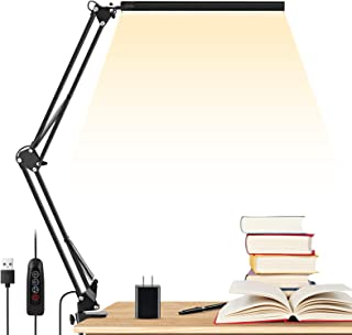 LED Desk Lamp, ENOCH 14W Eye-Caring Metal Swing Arm Desk Lamp with Clamp, 3 Modes, 30 Brightness Dimmable Clamp Desk Light...