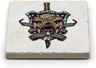 USMC Natural Stone Coaster- Once And Always A Marine (1 Piece)