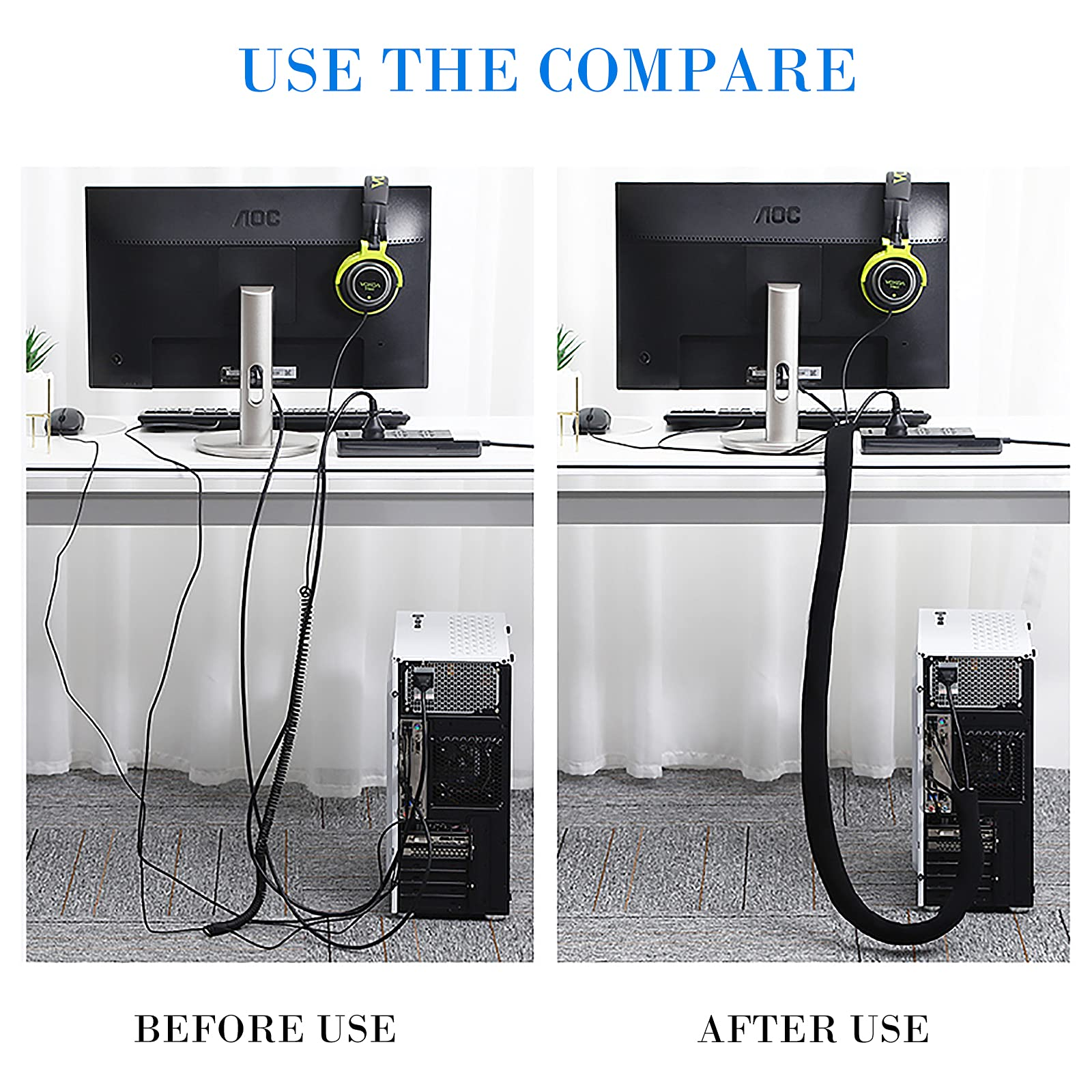 Bestfy Cord Organizer System Cable Management Sleeve, 19.5 inch, Wire Cover with Zipper, Cable Wrap, Cord Sleeves for TV, Computer, Office, Home Entertainment, 4 Pack