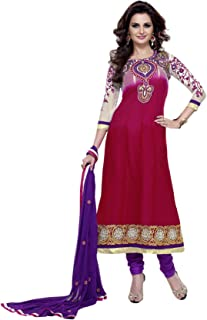 Florence Women's georgette straight Salwar Suit Set (SB-1709-Aug2019_ Pink_ One Size)