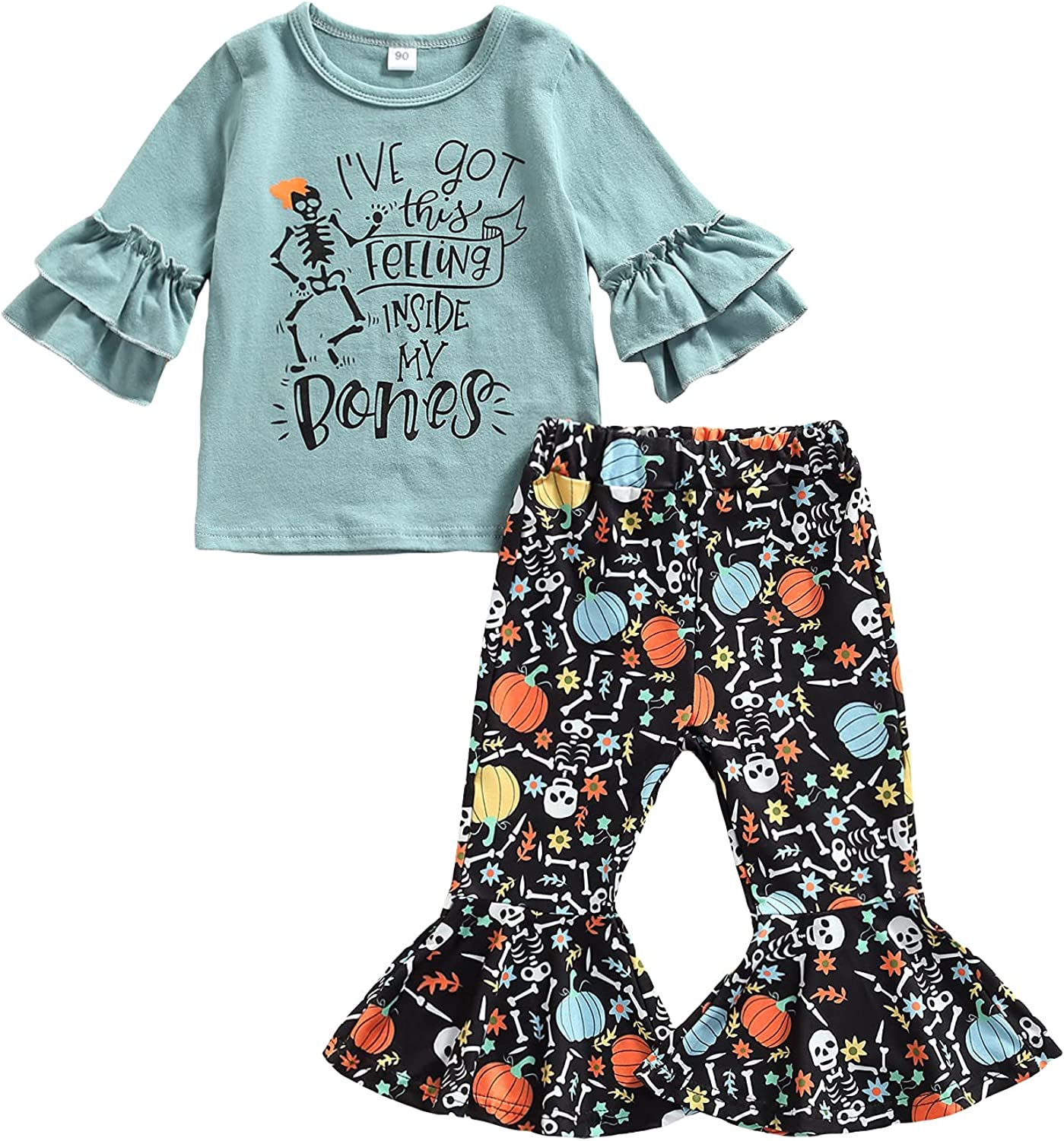 Kids Toddler Baby Girl Halloween Outfits Long Sleeve Sweatshirt Ruffle Shirts Tops with Pumpkin Flare Pants Clothes Set