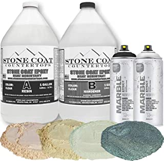 Stone Coat Countertops 2 Gallon Epoxy Resin Kit with Marble Spray Paint and Mica Powder – DIY Countertop Paint Kit for Cre...