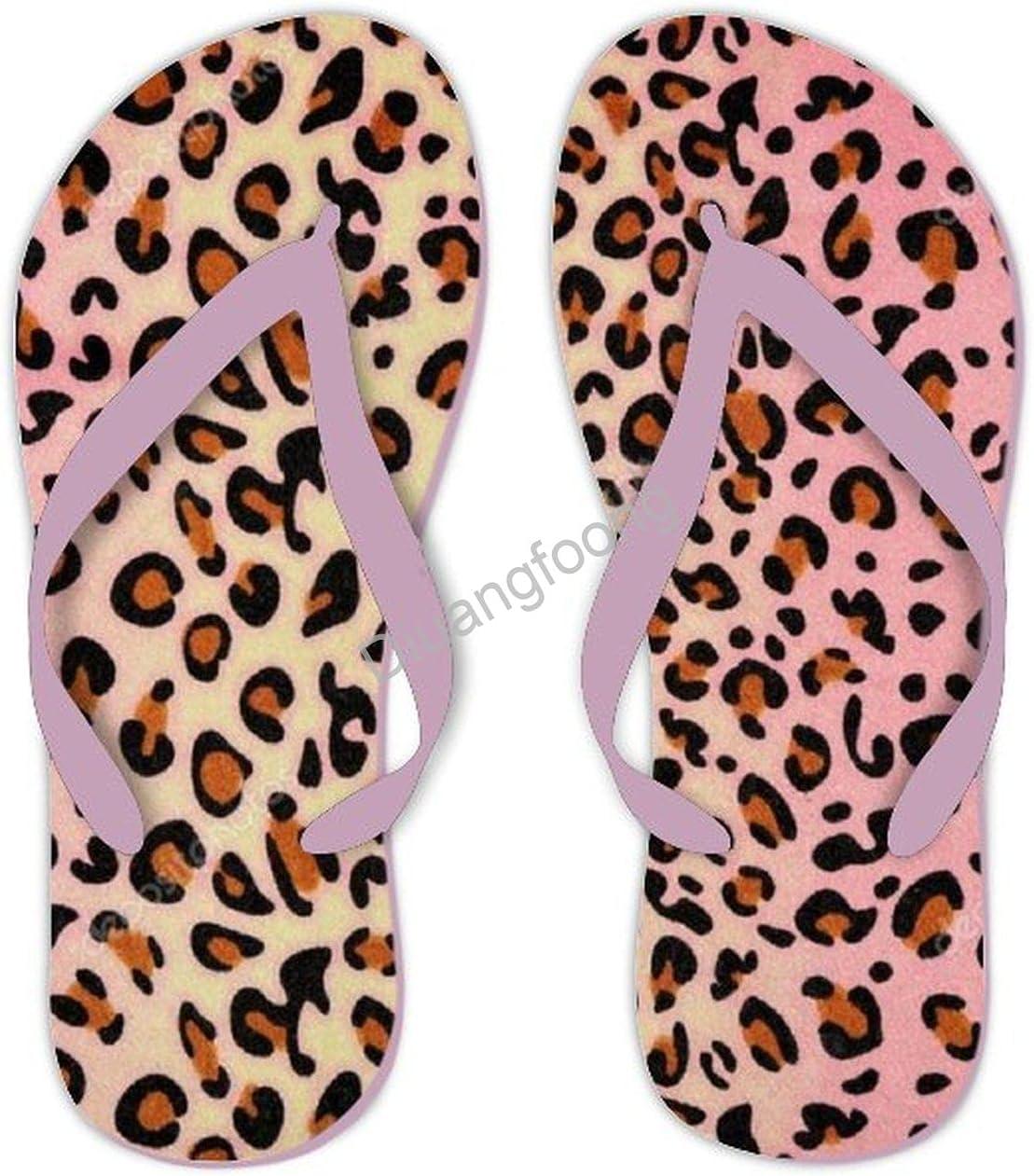 Leopard Flip Flops Designer Print Thong Sandal Fun Sandal For House Bathroom Party Pink Style1