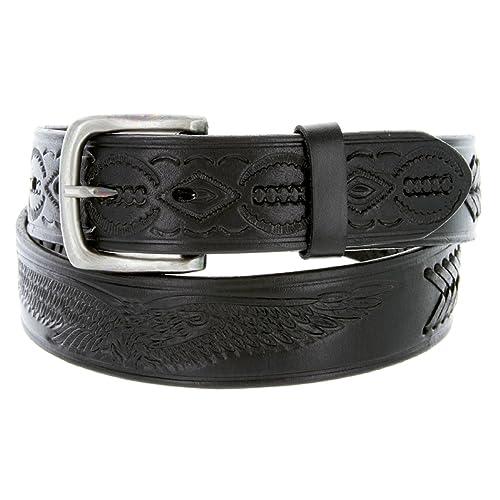 Fine Genuine Leather Belt Black Tooled Oil Tanned