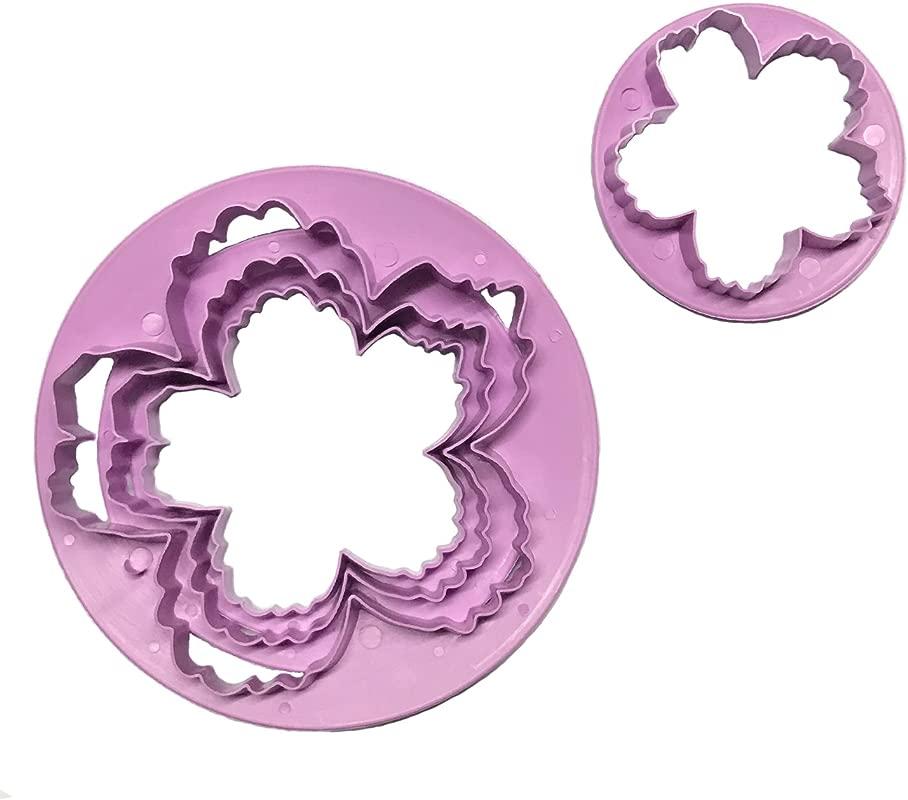 Gobaker Plastic Peony Cutters Set Fondant Cake Gumpaste Flower Petal Cutter Mold For Wedding Cake Decoration 4pcs