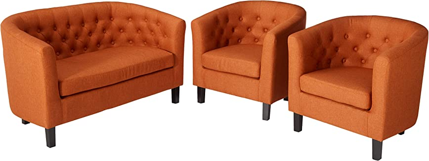 3-Piece Modway Prospect Upholstered Fabric Loveseat and Armchair Set
