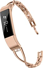TOYOUTHS Compatible with Fitbit Alta Bands and Fitbit Alta HR Bands, Rhinestone Replacement Bands Accessories Straps Wrist Bands for Women, Rose Gold