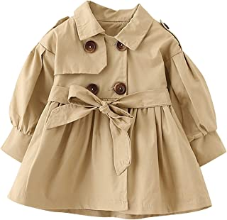 Carolilly Baby M/ädchen Jacke Mantel Trenchcoat Revers Prinzessin Windbreaker mit G/ürtel Kinderjacken Parka Winter Kleidung