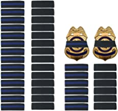 """40 Pack 1/2"""" Police Mourning Band Stripe Police Officer Badge Shield Funeral Honor Guard Straps, 2 Styles (20 Pack Black +..."""