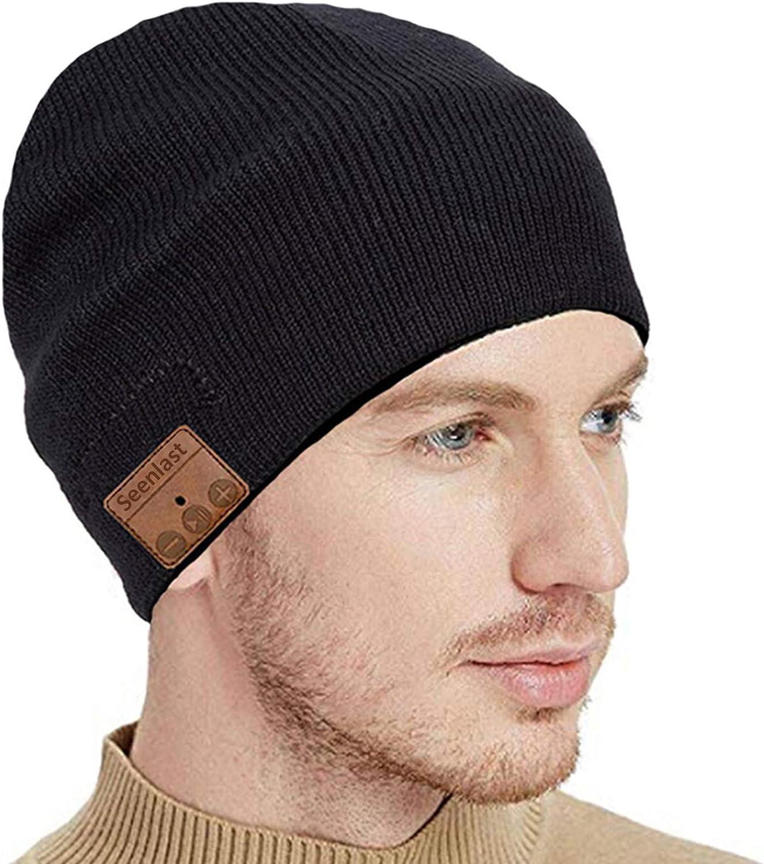 Ecouteur Bluetooth 5.0 Bonnet Haut Parleurs sans Fil avec St/ér/éo HD Microphone seenlast Bonnet Bluetooth Homme Femme Beanie Musique Convient /à Sports Ski Patinage Marche