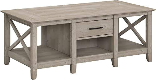 Bush Furniture Key West Coffee Table with Storage, Washed Gray