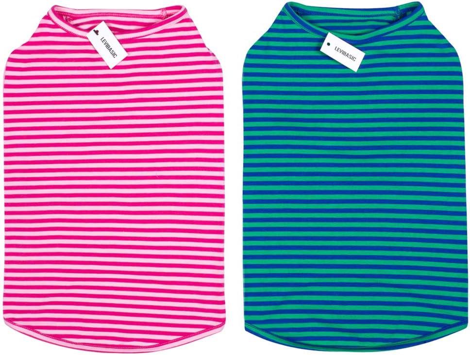 LEVIBASIC Dog Shirts Cotton Striped V Breathable El Paso Mall Cheap mail order sales Basic T-Shirts