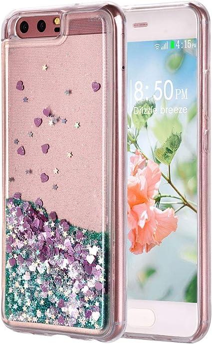 Étui Sable mouvants pour Huawei P10, Coque Huawei P10 Paillette Liquide, Bling Étincelle Flowing Liquide Flottant Brillant Housse TPU Bumper Souple ...