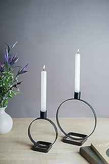 دارنده شمع مدرن GoCraft | دارنده شمعدان آهنی ، مشکی مات (مجموعه 2) [CC0208-TMG]