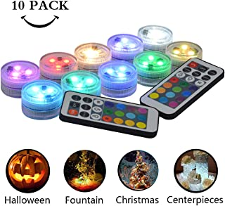 Idubai 10 Pack Submersible LED Lights with Remote,Super Bright Small Waterproof LED Lights for Vases Fountain Pool Holiday Party Event Wedding Centerpieces Halloween Pumpkin Lighting Battery Operated