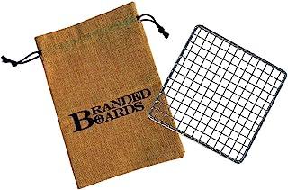 Branded Boards Bushcraft Stainless BBQ Grill Grate, Bamboo Cutting Board, Burlap Hemp Drawstring Bag, Mini Camp Knife. Cam...