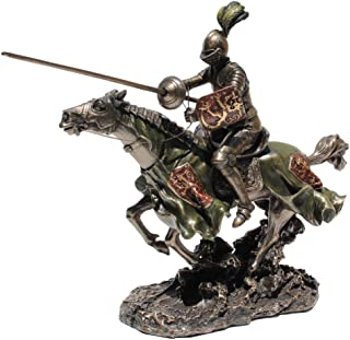 Jousting Armored Knight with Lion Emblem Shield Statue Sculpture Figure