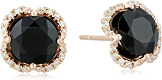 Womens 14K Rose Gold Black Agate Stud Earrings, One Size