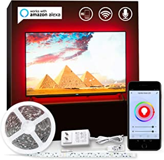 LED TV Backlight Alexa Enabled 60 65 Inch TV Bias Lighting Smart WiFi LED Strip Lights Compatible with Alexa Google Home, Smart Life App RGBW LED Strips 1600 Million Colors and 6500K True White, 15ft