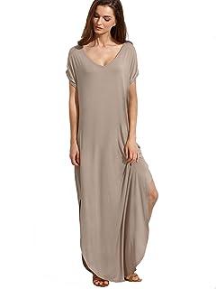 47b48948331c0 Verdusa Women's V Neck Side Pockets Split Hem Beach Long Maxi Dress