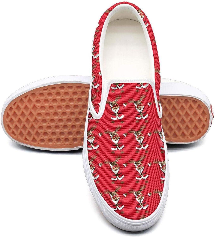 Dabbing Reindeer Deer Womens Fashion Slip on Low Top Lightweight Canvas Running shoes