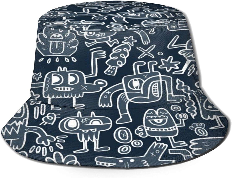 Jacksonville Mall Monsters and 1 year warranty Cute Alien Bucket Sun Summer Unisex Packabl Hat