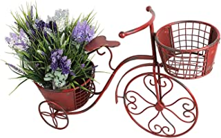 Tricycle Plant Stand Bicycle Planter, Iron Plant Stand Flower Pot Cart Holder Indoor Outdoor Home Garden Patio Decor, 27.5