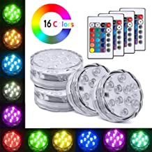 Meanhoo Submersible Led Lights with Remote, 4 Pcs 16 Colors Waterproof Underwater Led Light for Swimming Pool, Garden, Halloween, Fountain, Pond