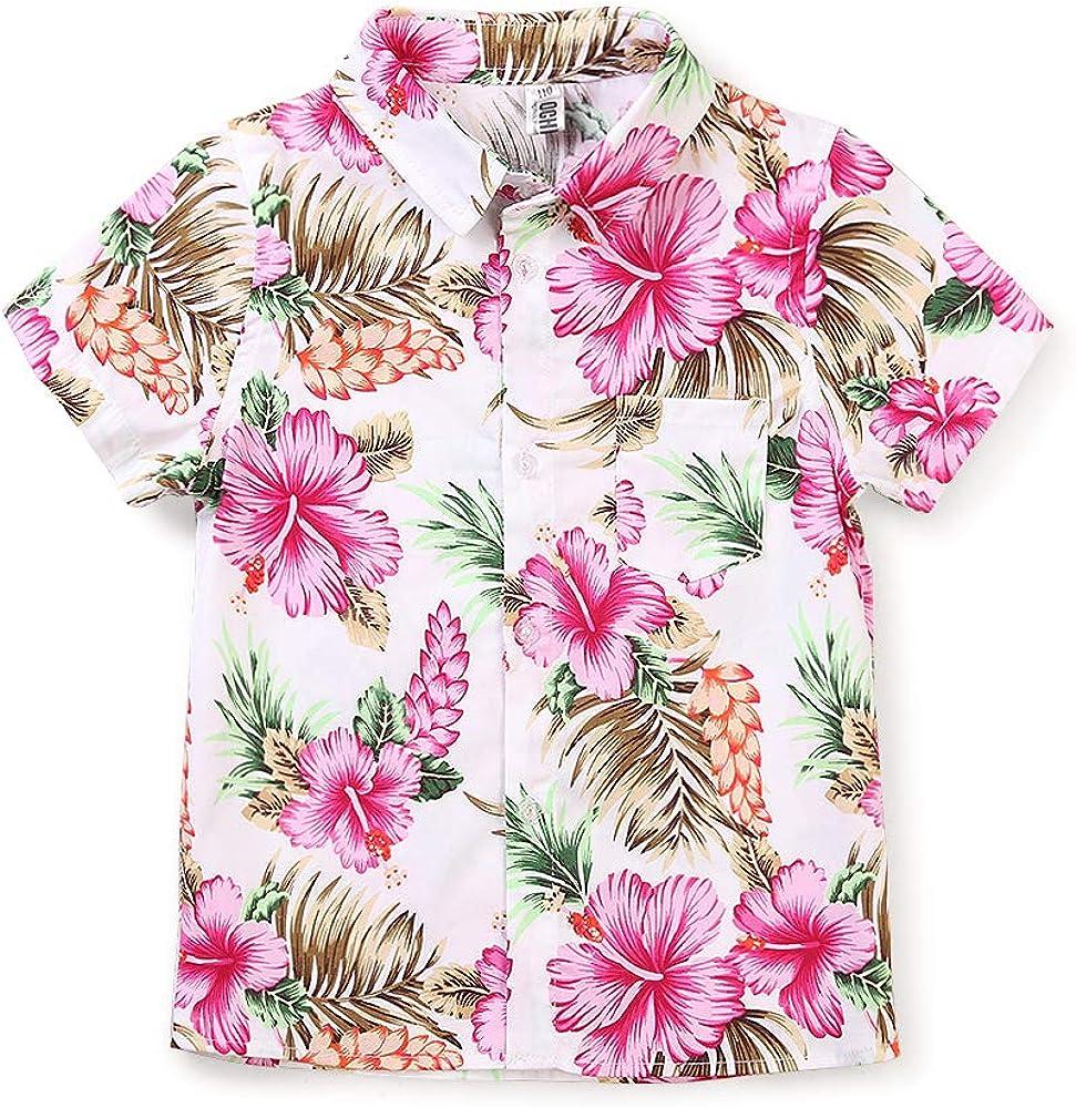 OCHENTA Mens' Little & Big Boy's Print Button Down Hawaiian Shirt