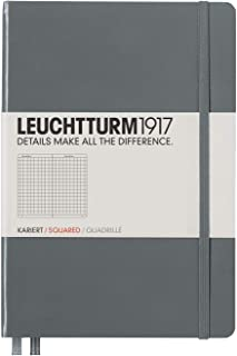 Leuchtturm1917 Medium A5 Squared Hardcover Notebook (Anthracite) - 249 Numbered Pages
