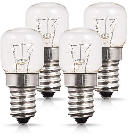 4 ampoules de four, petite douille Edison E14, jusqu'à 300 degrés, 25 W à incandescence, 2700 K, lumière blanche chaude, non dimmable, parfait pour les fours Neff, Bosch, Siemens, Hotpoint
