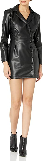 KENDALL + KYLIE Women's Vegan Leather Blazer Front Wrap Dress