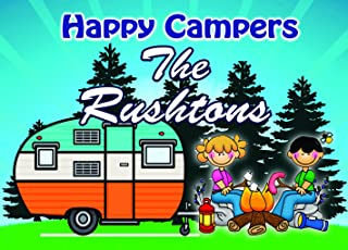 Camping Sign,Campground Welcome Sign Featuring Campfire with Couple Roasting Marshmallows with Retro Camping Trailer for your Camper Made of Sturdy Aluminum Personalize for Free (8x12) (8x12)