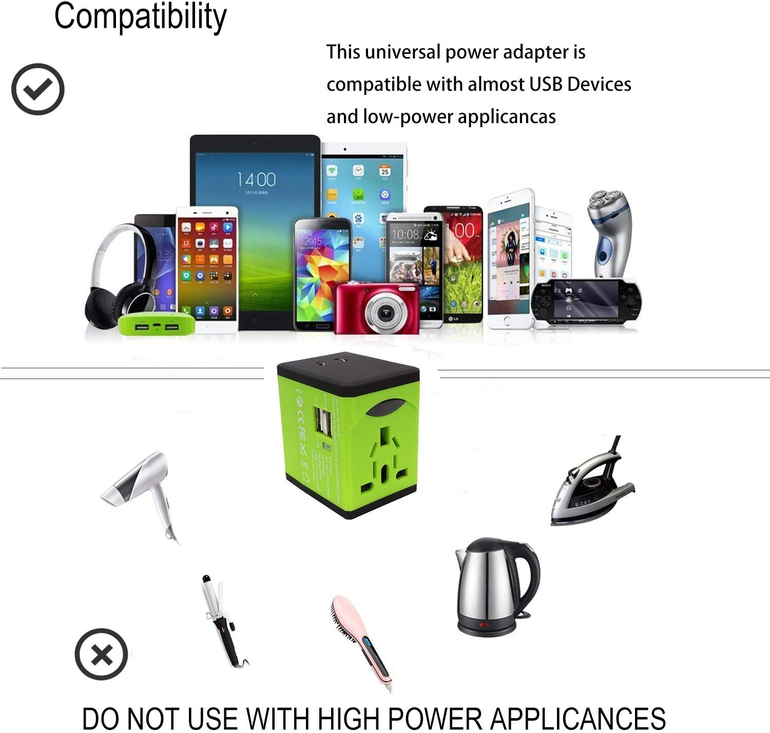 Travel Adapter, AllEasy Worldwide International Power Adapter with 2 USB Ports Converters All in One Wall Charger for Travel(US UK EU AU and Other 180+ Countries), Green
