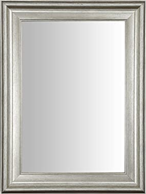 999Store Fiber Framed Decorative Wall Mirror or Bathroom Mirror Silver (24x18 Inches)