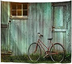 A.Monamour Tapices Bicicleta Vieja Apoyada contra El Grunge Granero Verde Tablones De Madera Puerta Impresión Tapiz Pared Decoraciones del Arte Pared Cortinas Ventana Manta De Playa Mantel 180x200cm