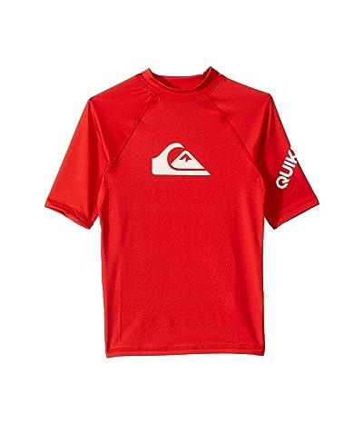 Quiksilver Kids All Time Short Sleeve Rashguard (Big Kids) (High Risk Red) Boy