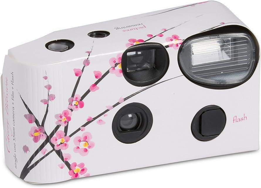 Cámaras desechables con flash color blanco y diseño de flores pack de 10