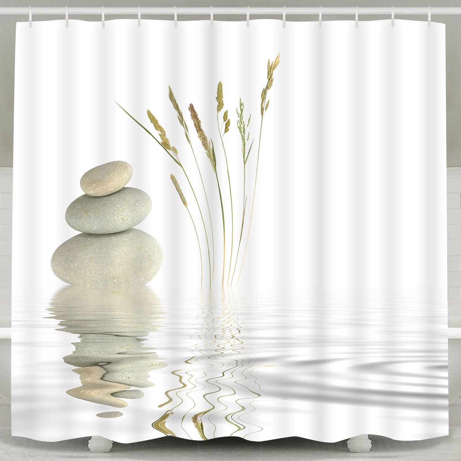 Waterpoof Fabric Spa Water Lily Zen Stone Serenity Pool Bathroom Shower Curtain