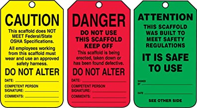 Accuform TSS200CTP PF-Cardstock Scaffold Status Tag, Legend