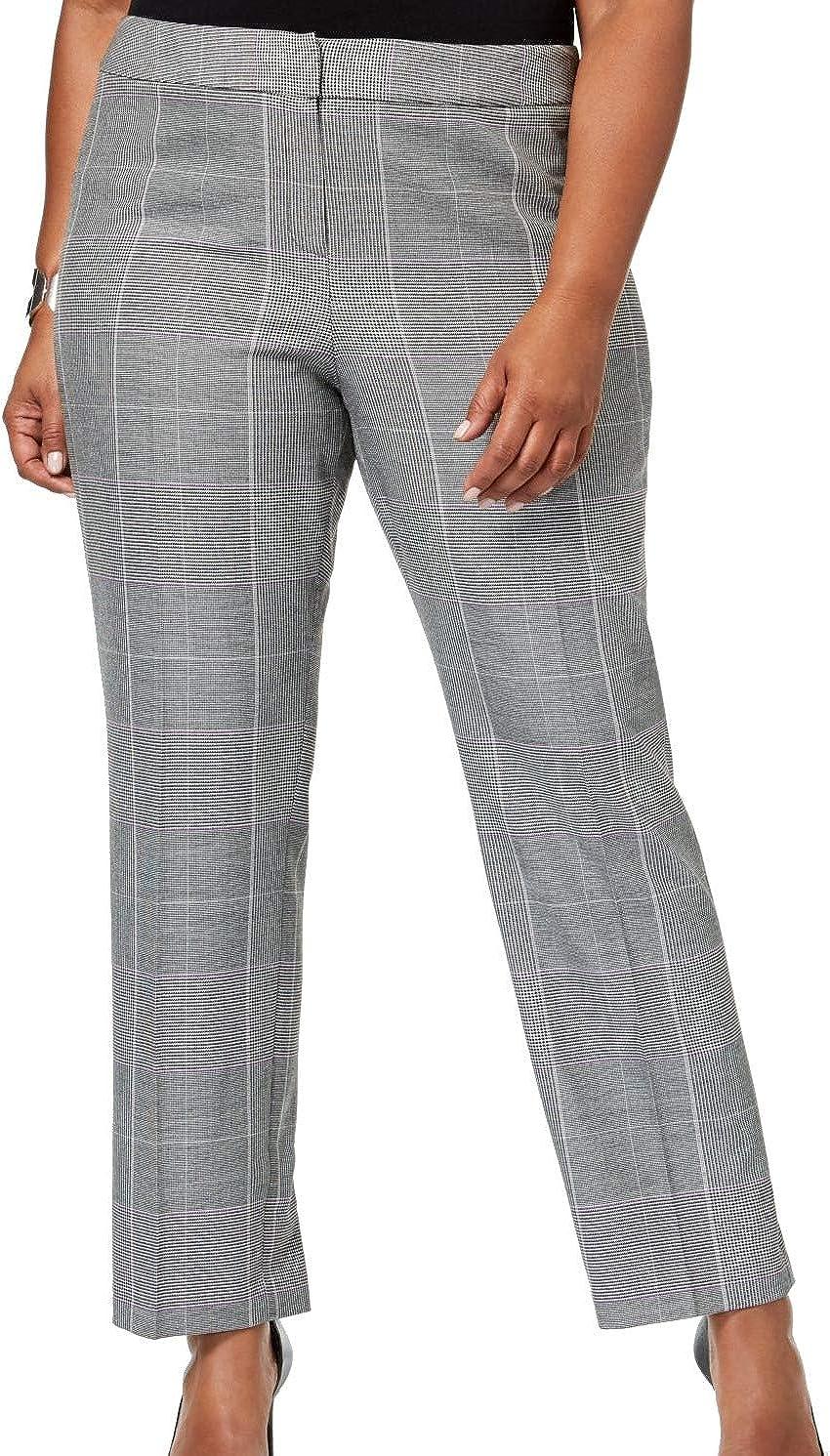 NINE WEST Women's Plus Size Plaid Straight-Leg Pants
