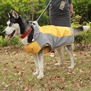 Large Dog Two Color Breathable Raincoat Waterproof Rain Coat Jacket Pet Puppy Clothes No.6-12(Yellow)